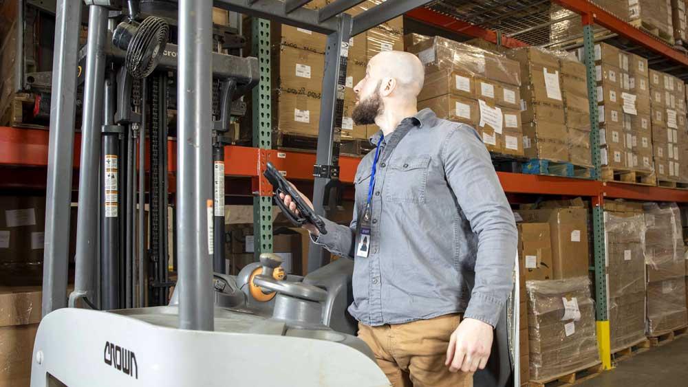 Zebra L10 XPAD forklift in warehouse