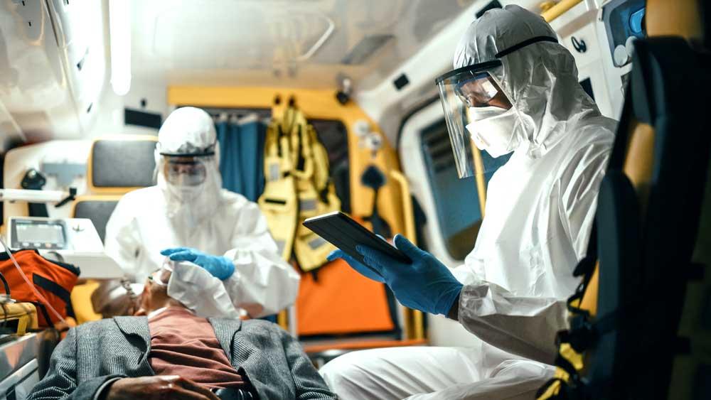 emt ambulance workers mobile tablet