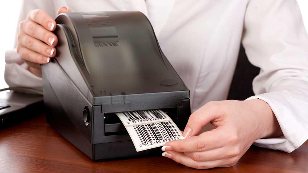 Women using UPC barcode Machine Printer