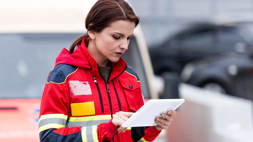 firefighter using rugged tablet