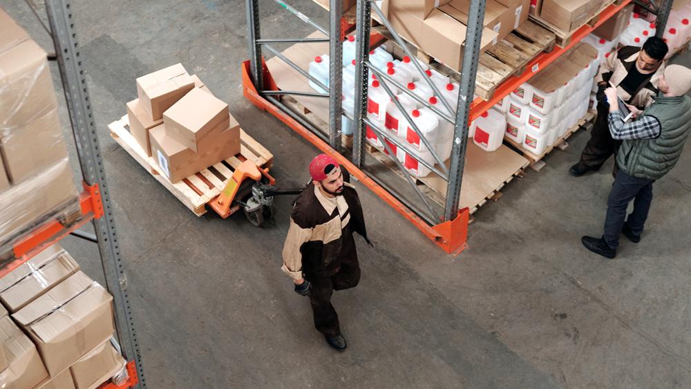 warehouse organizing boxes