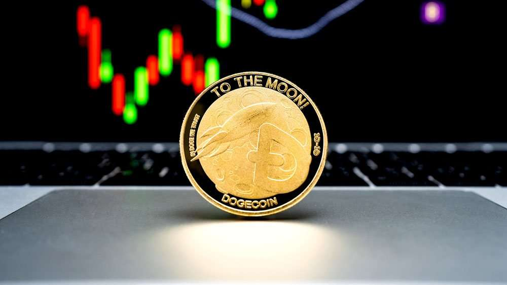 Doge Coin on Computer as Payment Method to the Moon