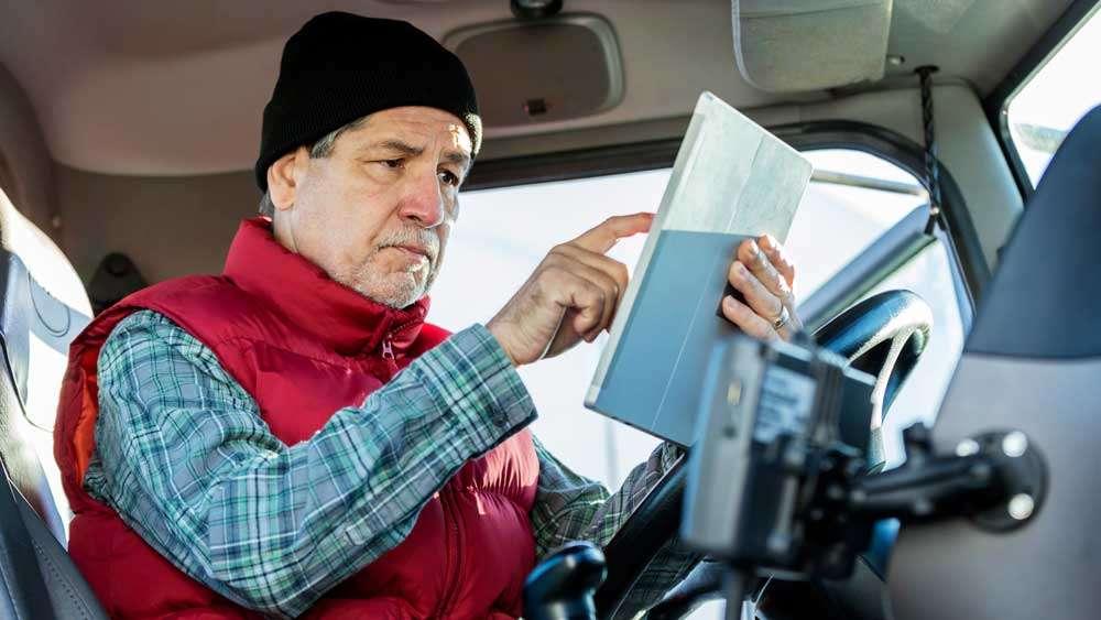 Truck Driver Using Panasonic Toughbook L1