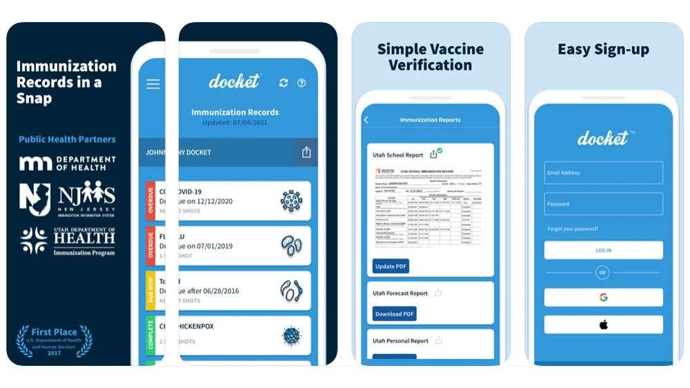 Docket Immunization Records IOS APP Screenshots